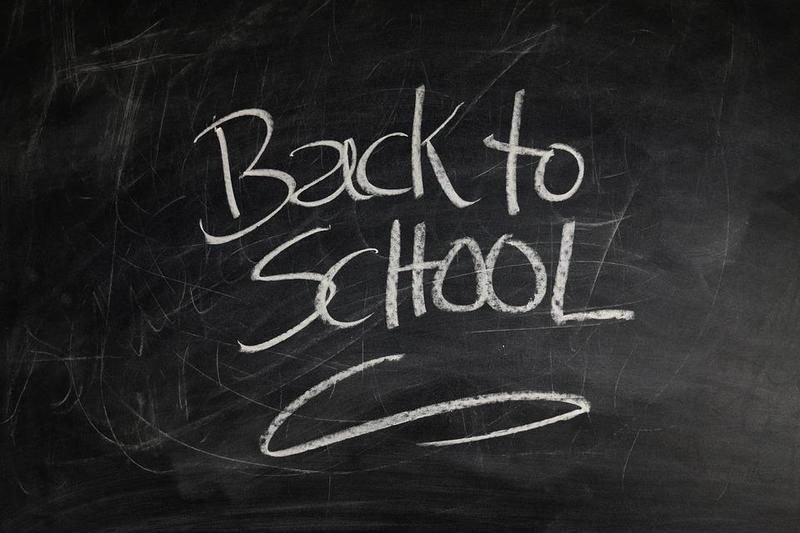 Chalkboard with Back to School written on it.