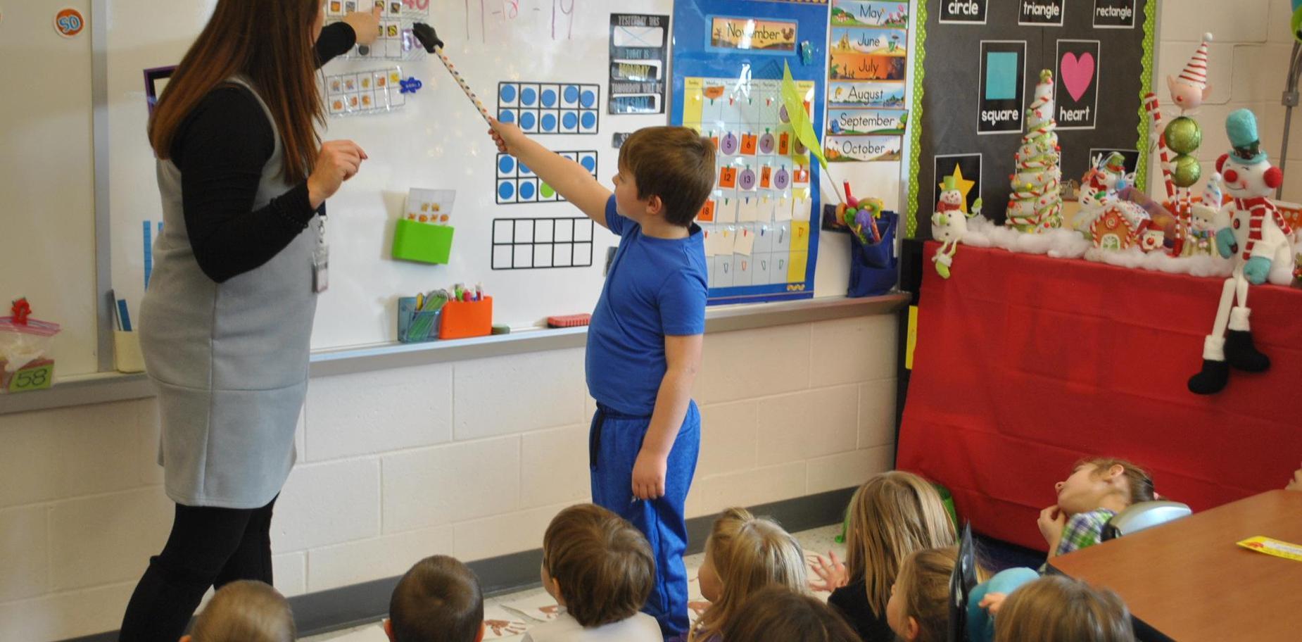 Kindergarten student in class