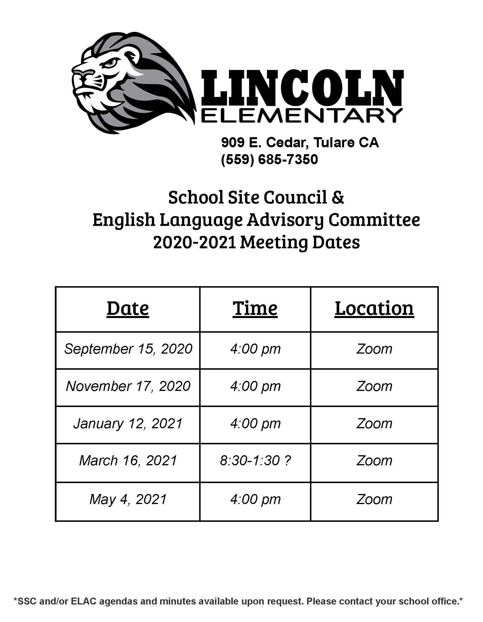 SSC/ELAC meeting dates/times 20/21