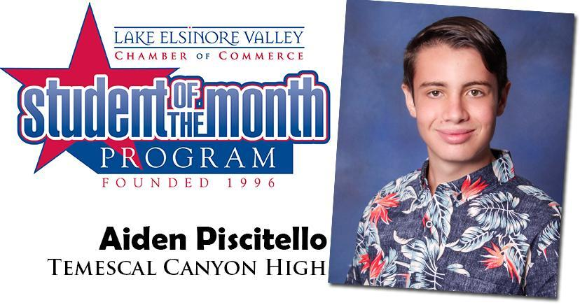 Aiden Piscitello, Temescal Canyon HS, Student of the Month Honoree for September 15, 2020.