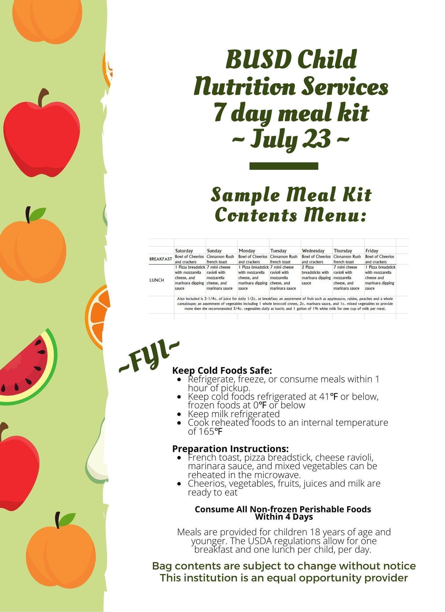 Meal kit menu