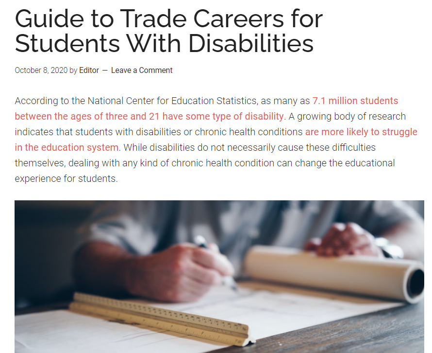 Guide to Trade Careers for Students With Disabilities
