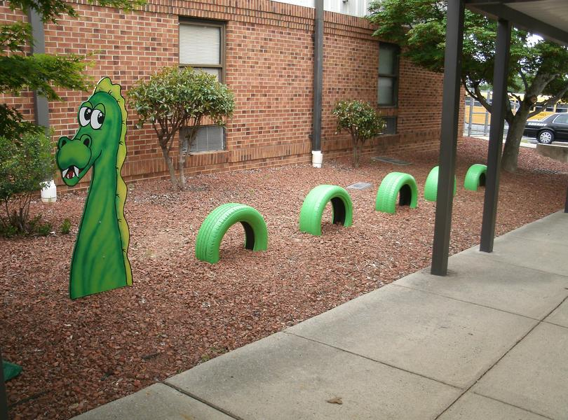 Dragon art in front of our school.