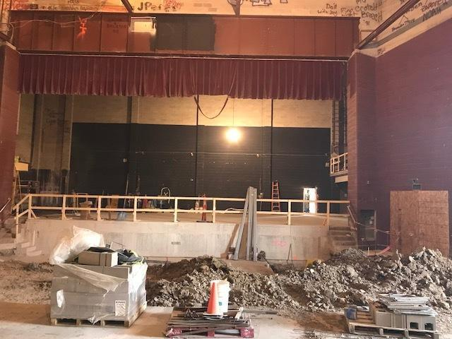 Reconstruction of orchestra pit and view of stage.