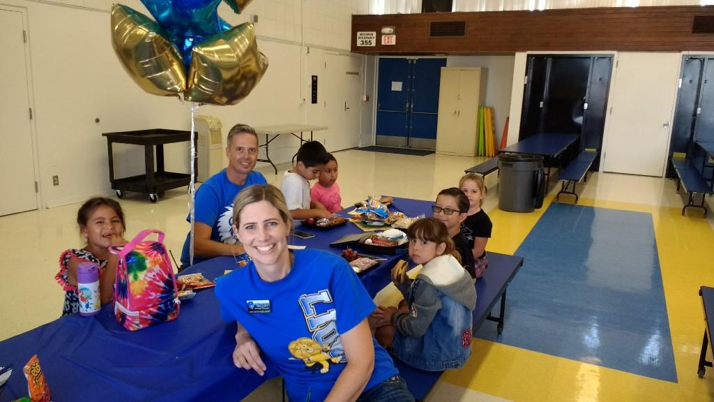 Mrs. Grant and Mr. Broecker having lunch with first grade winners of Lunch with the Principal August 25, 2017