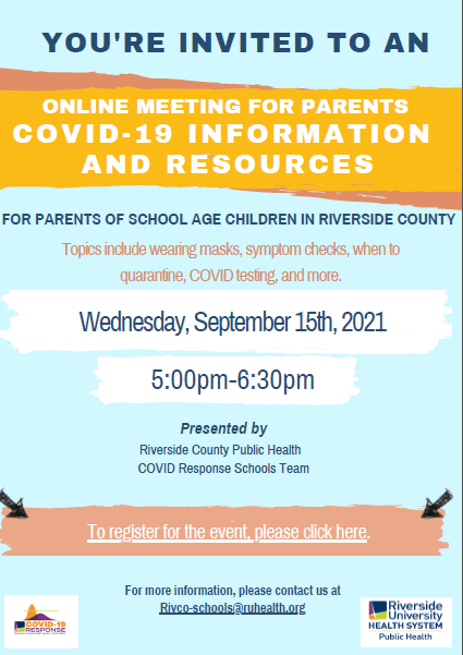 flyer for parent webinar in regards to covid, information and resources.