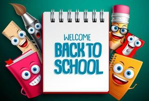 Back to school sign with cartoon office supplies surrounding the frame