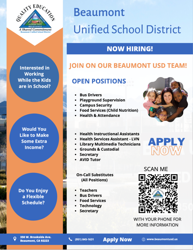 Flyer with picture of students and staff. Information on Open positions.