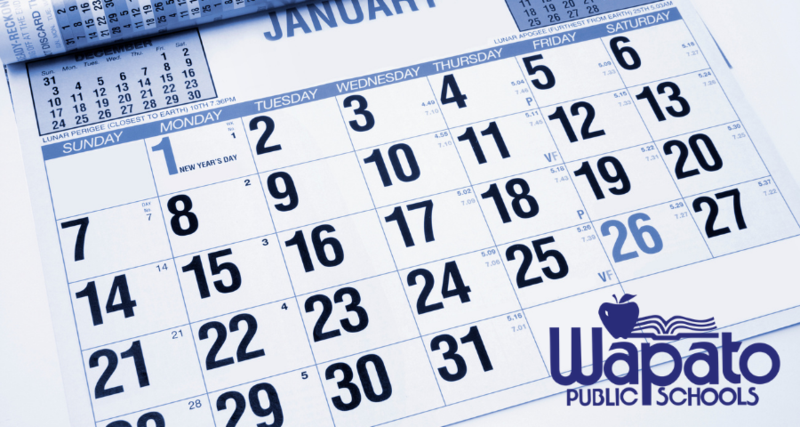 graphic of calendar page  with Wapato Public Schools logo