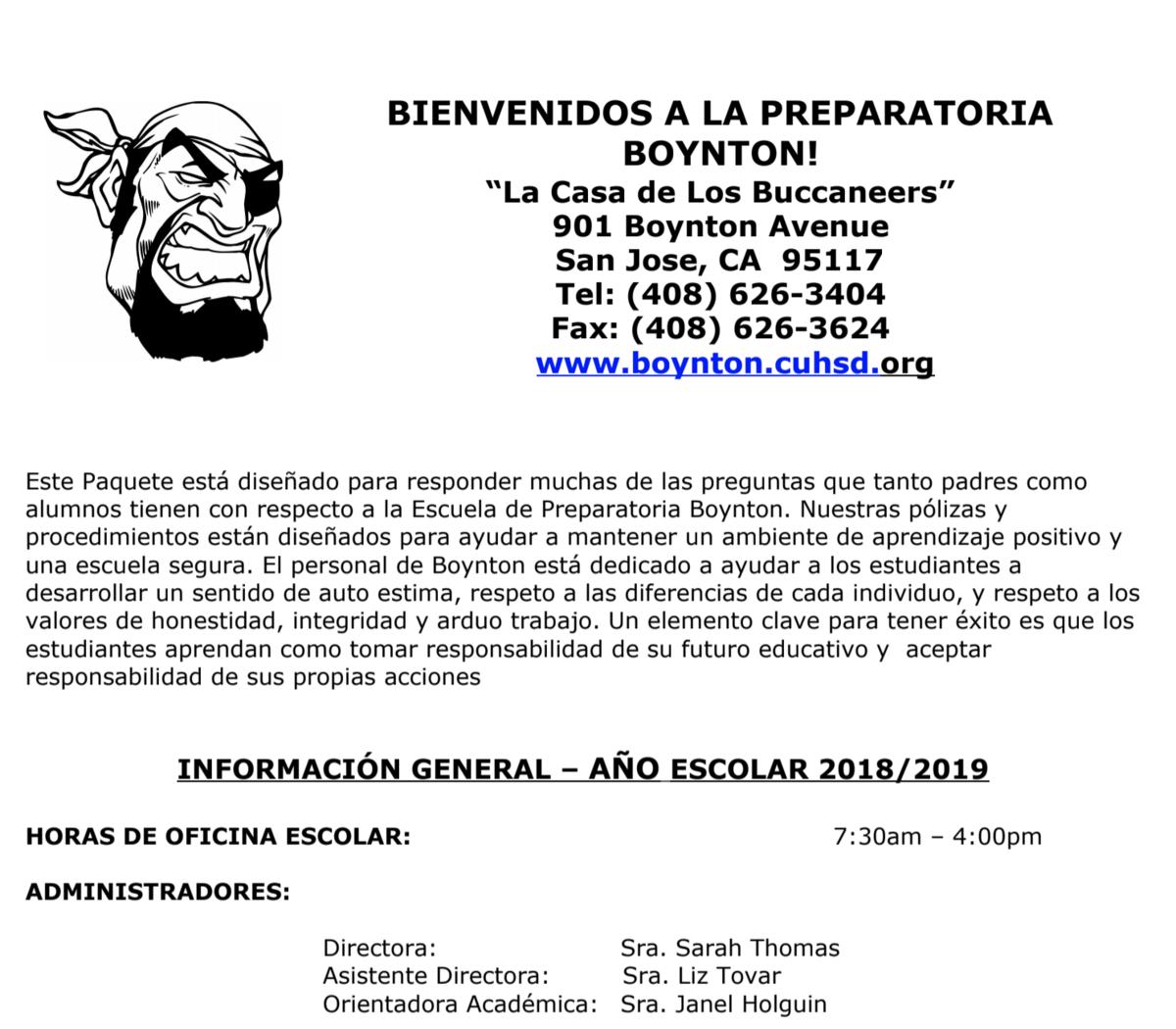Student Handbook Spanish