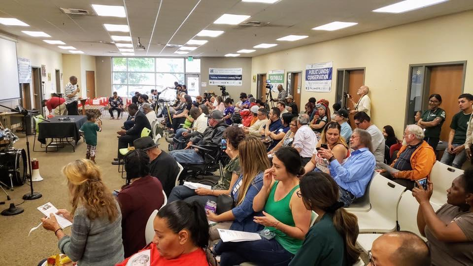 Room crowded with community members at Poor People's Campaign meeting