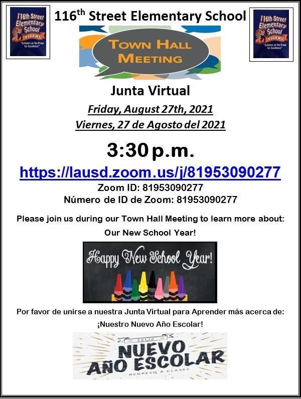 08-27-2021-116th Street School Town Hall Meeting/08-27-2021-Junta Virtual de la  Escuela de la Calle 116 Thumbnail Image