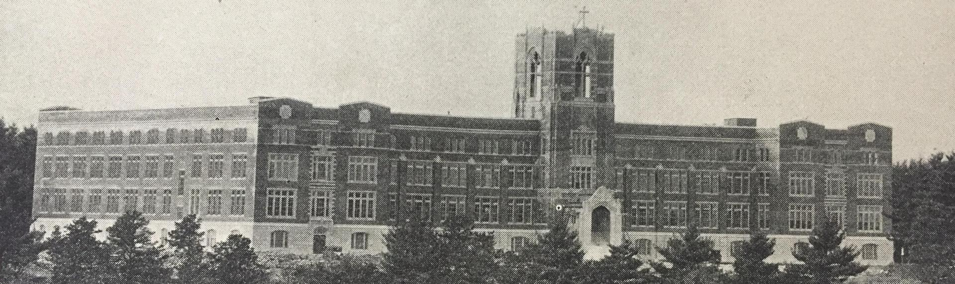 Black and white photo of the school building