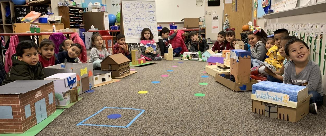 West Elementary pre-kindergarten dual language students recently learned about the parts of a community as well as the benefits of communities.   Students and their families built various buildings that are found in a community, and some even created entire cities.    Teachers are Deisy Rautiola and Claudia Myers.