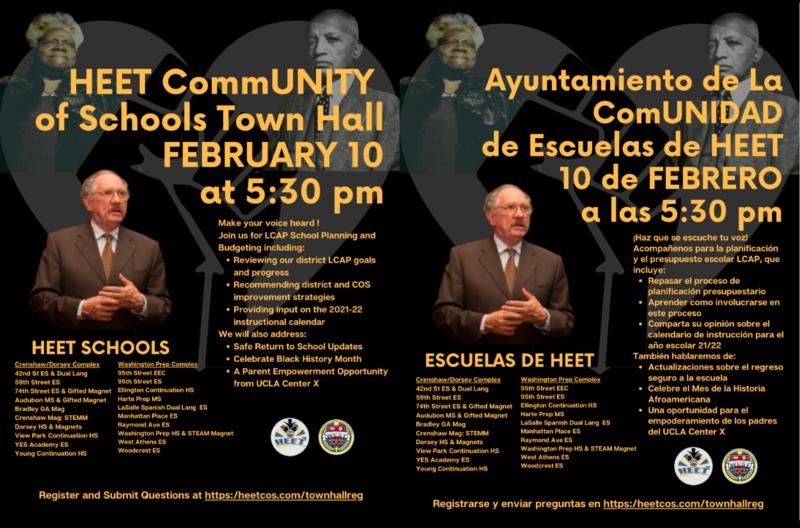 HEET Town Hall - February 10, 2021 @ 5:30 pm/Ayuntamiento de HEET - 10 de febrero de 2021 a las 5:30 pm Featured Photo