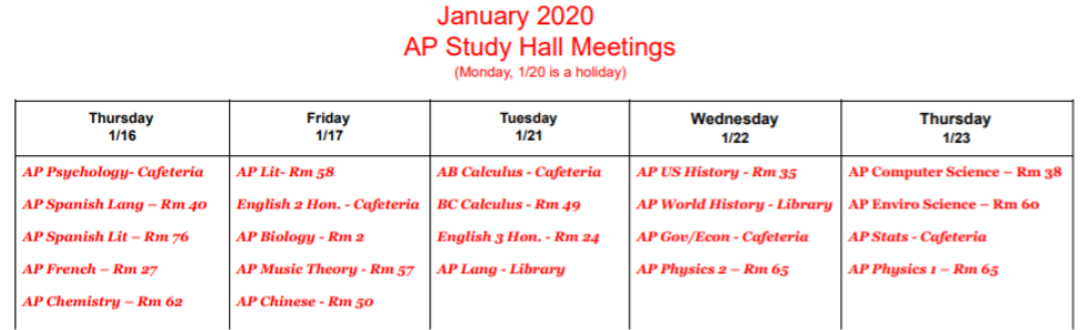 AP Study Hall Schedule