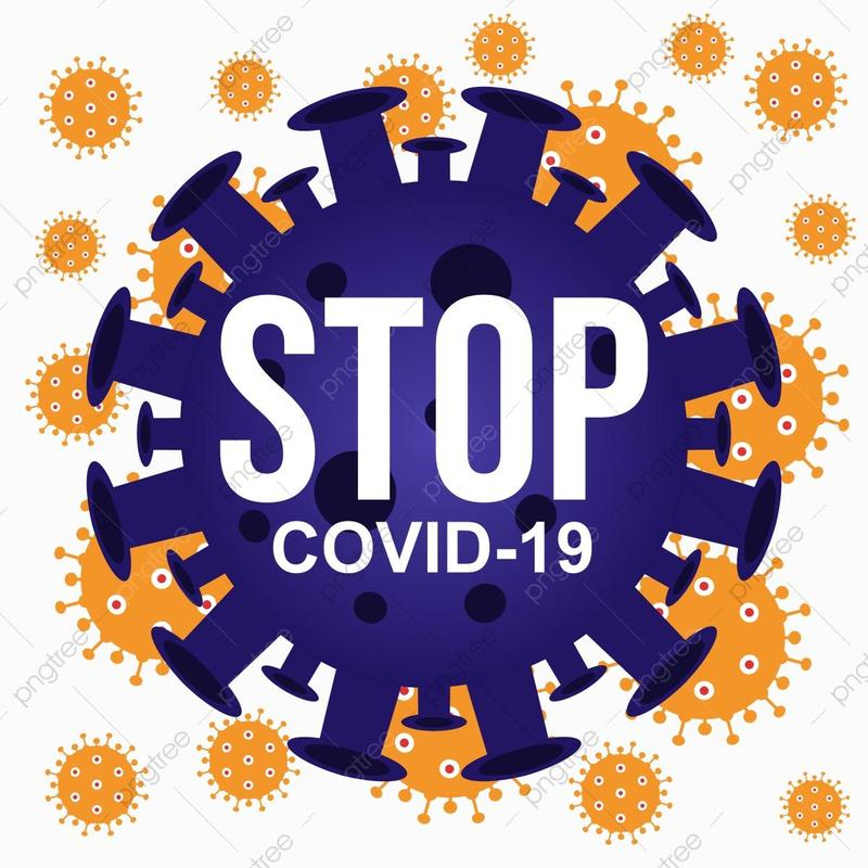 Stop COVID written on a illustration of a COVID virus.