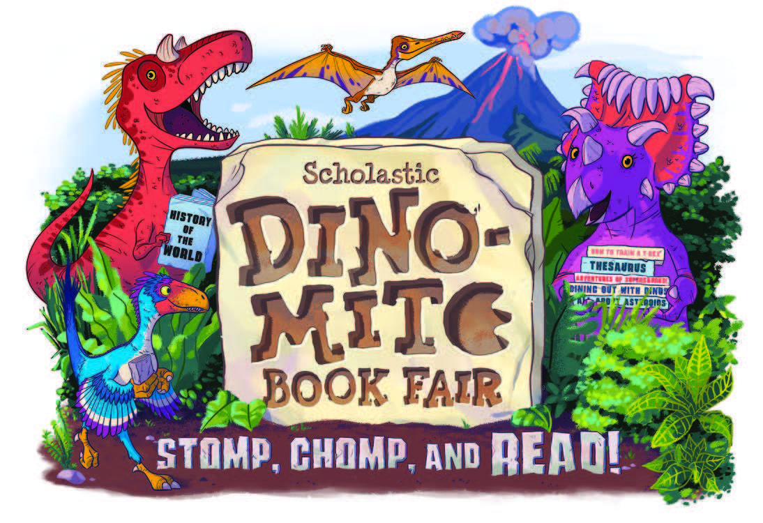 dino mite book fair logo
