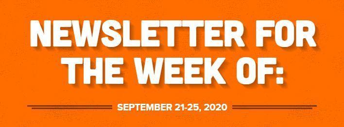 Newsletter for Week of September 21-25 2020 Thumbnail Image