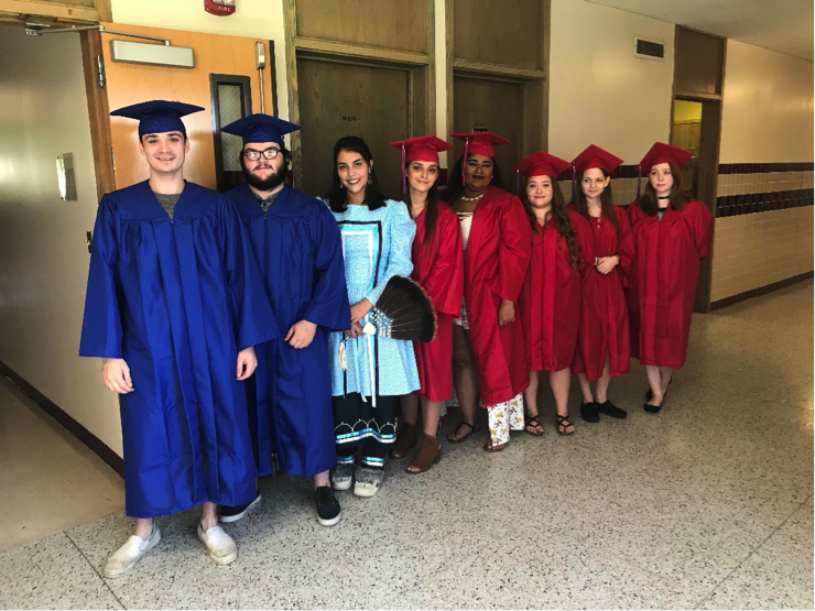 Group of students in caps and gowns for graduation