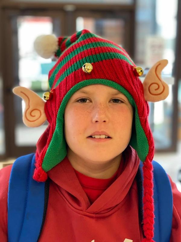 boy in holiday hat