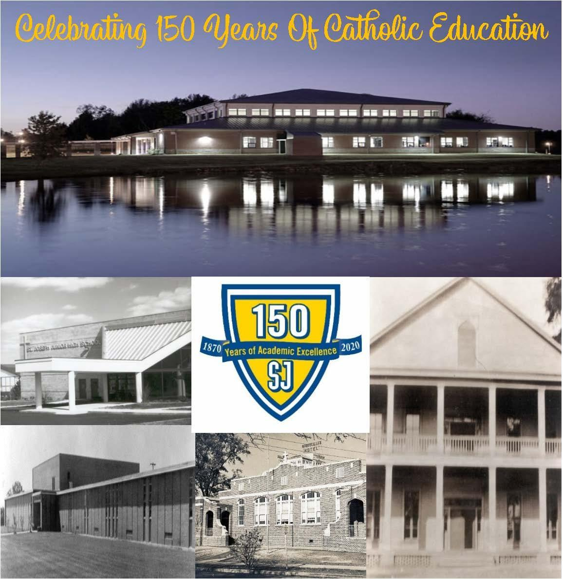 black and white images of old buildings, building on a lake at night time, Saint Joe shield (yellow and blue)