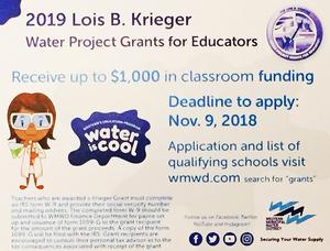 Lois B. Krieger Grant deadline to apply Nov. 9, 2018. Apply at www.wmwd.com, keyword
