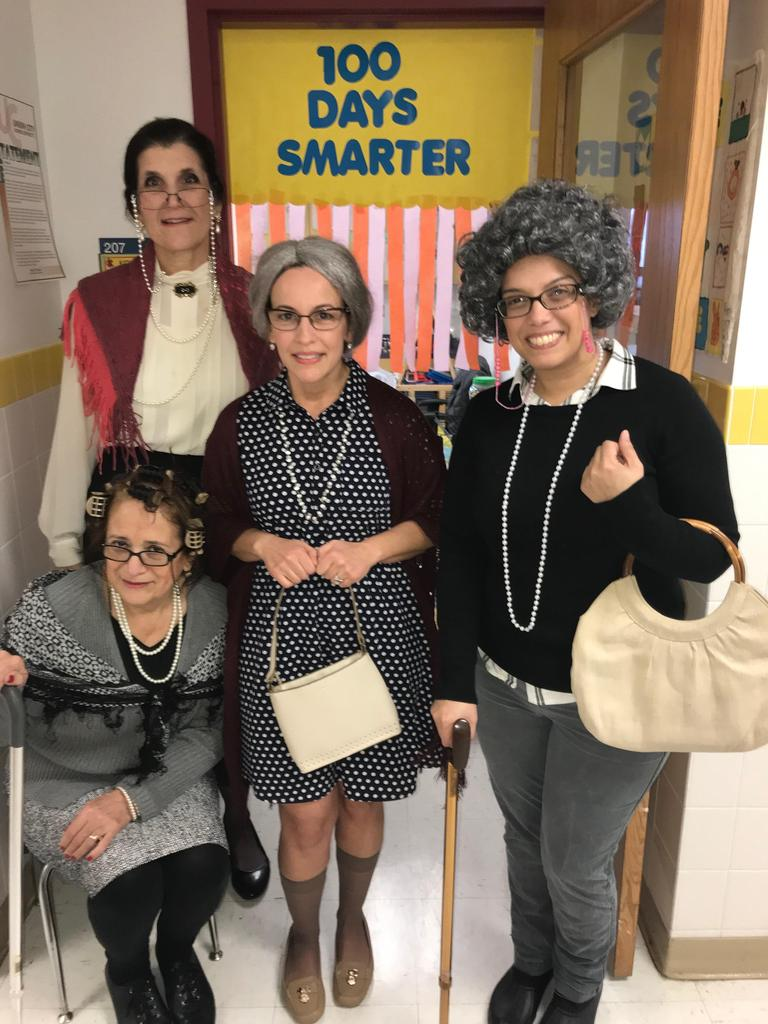 kindergarten teachers dressed as 100 years old