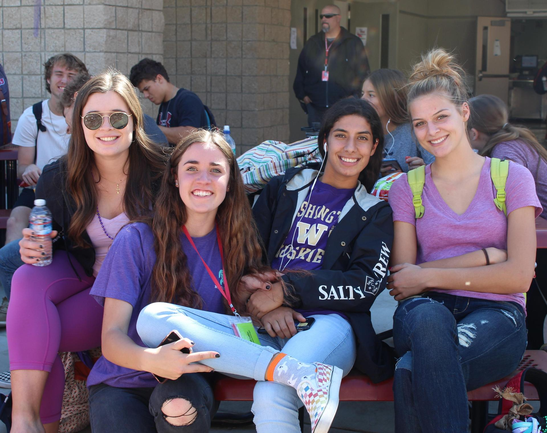 Students and staff wearing purple clothing to support awareness of all cancers.
