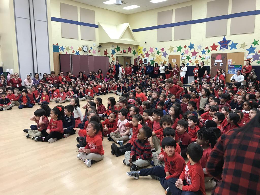 students watching the Chinese New Year Show