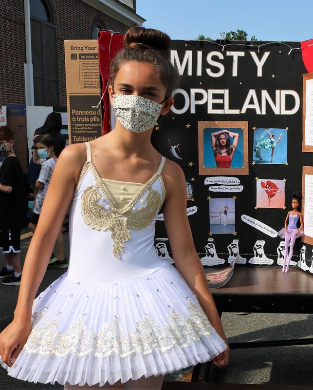 Photo of Wilson 5th grader dressed as ballerina Misty Copeland.