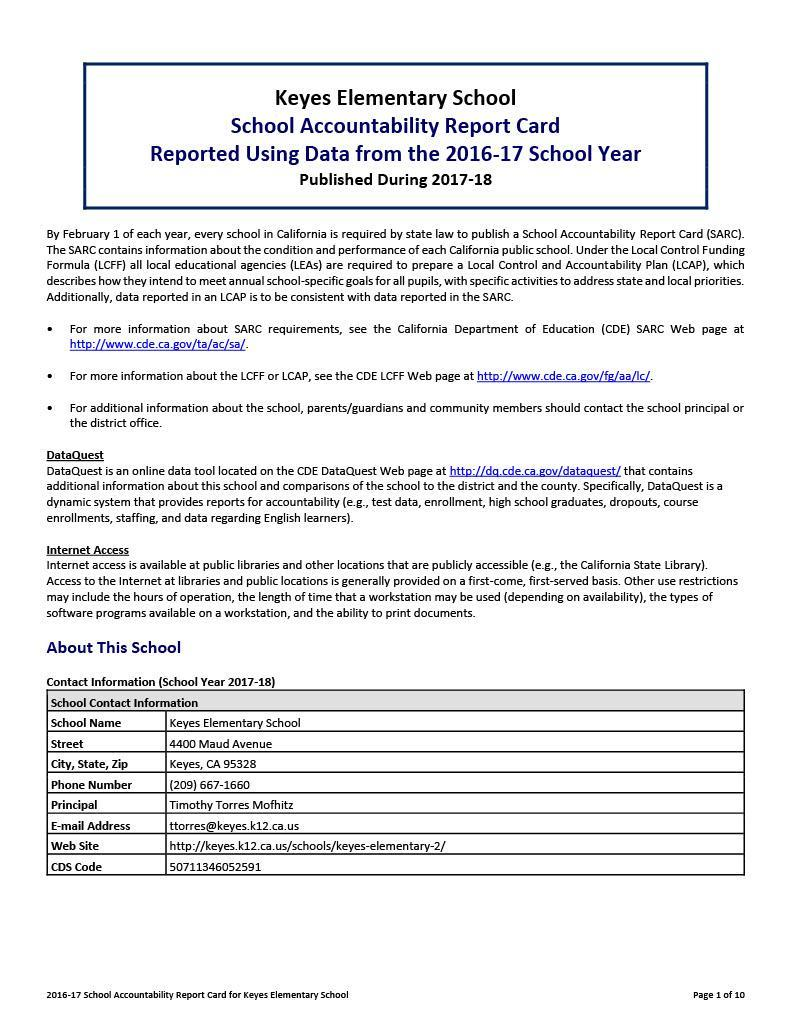School Accountability Report Card Example