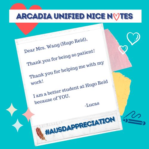Nice note to Mrs. Wang