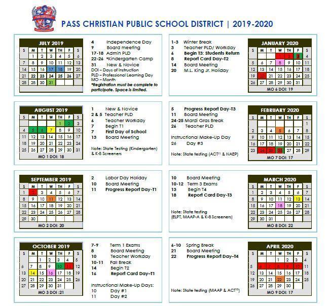 2019-2020 Calendar