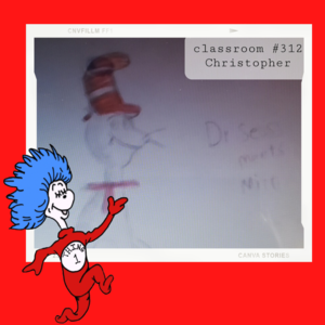 Christopher's cat in the hat drawing