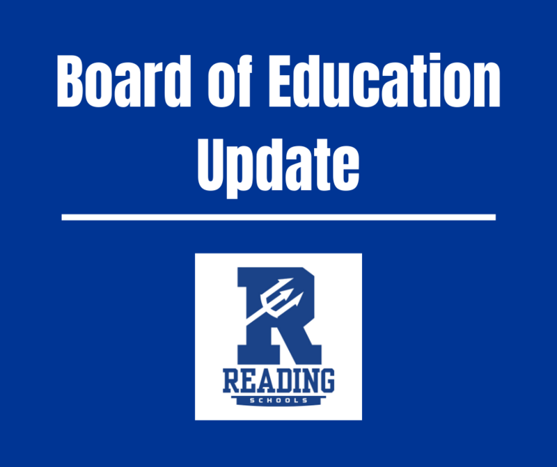 Board of Education Update - featuring Reading logo