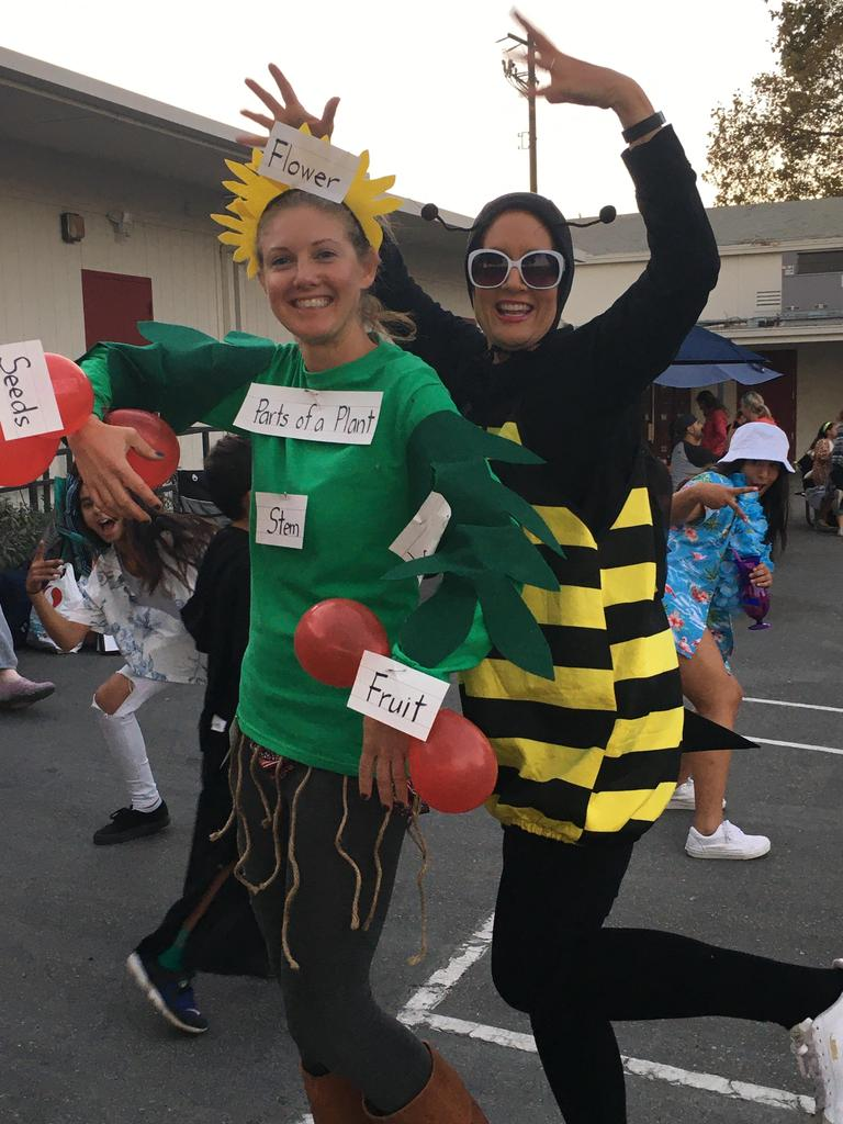 teachers dressed as plant and bee