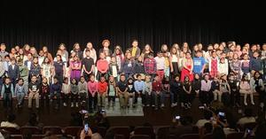 All the district Science Fair Winners on Stage withe their awards