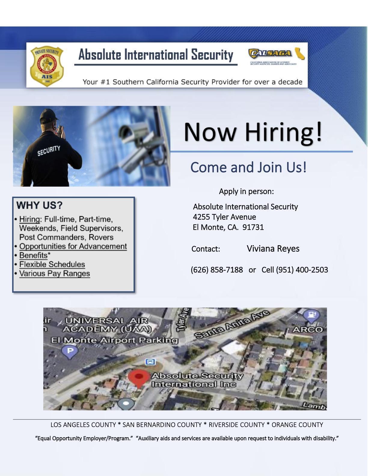 Absolute International Security job posting flyer