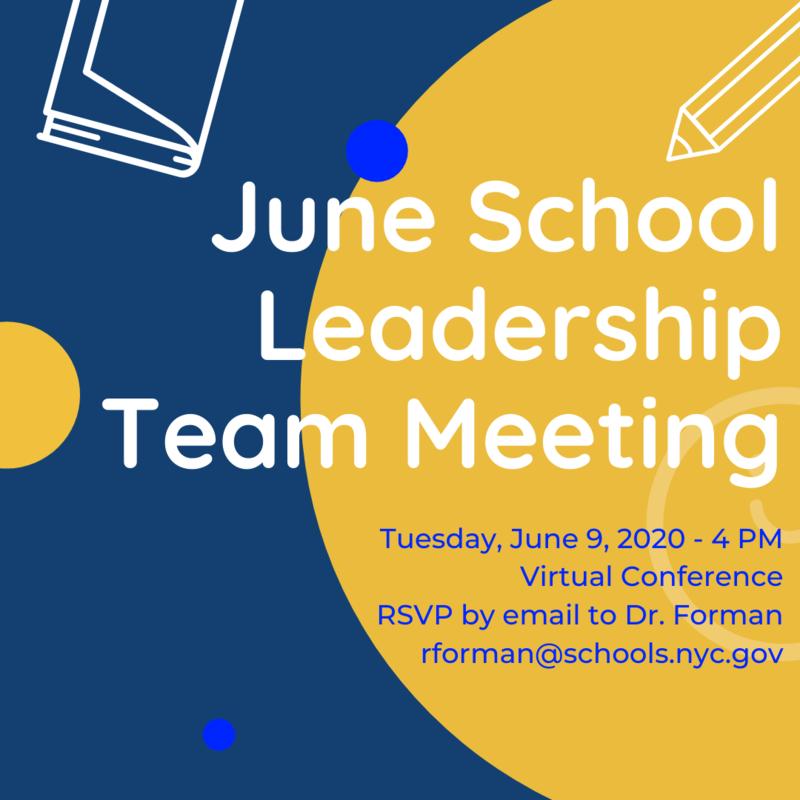 June SLT Meeting June 9th at 4pm