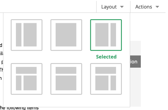screenshot of layout options