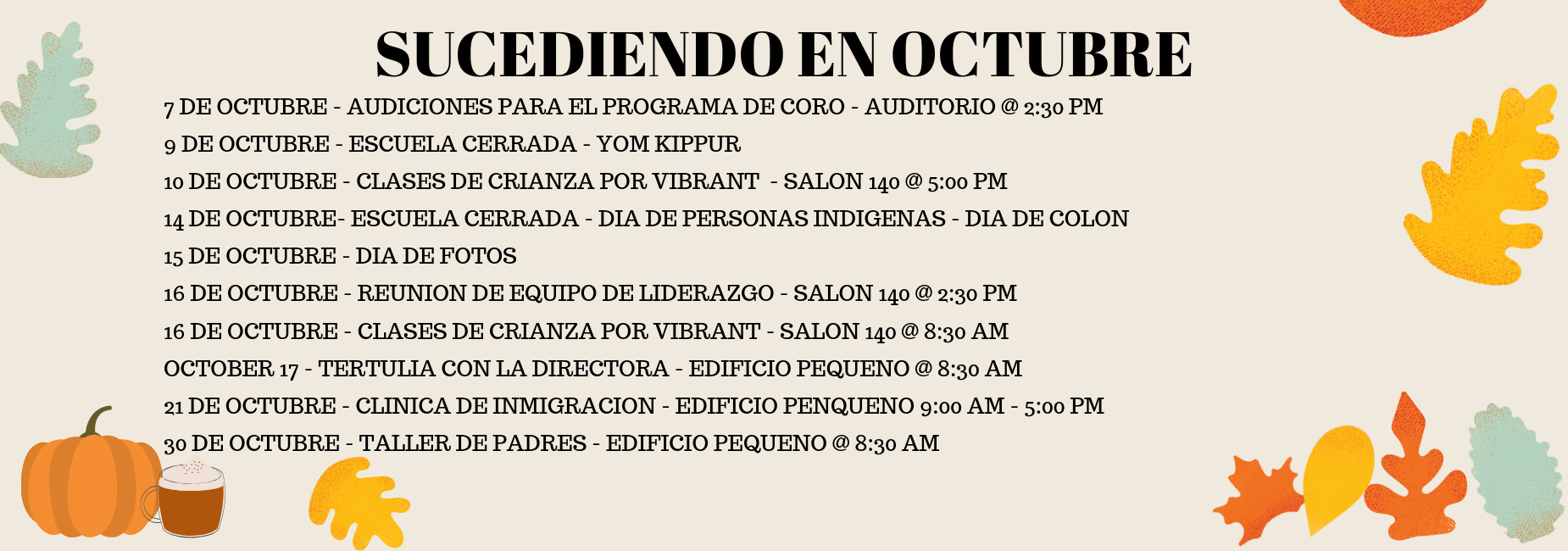 OCTOBER EVENTS SPANISH