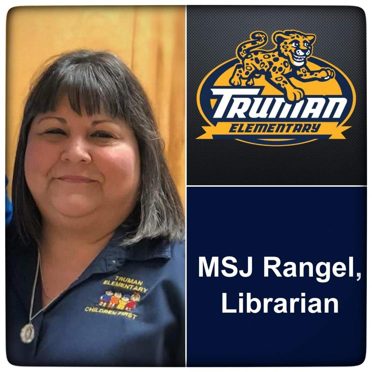 Image of the librarian MSJ Rangel and Truman Logo