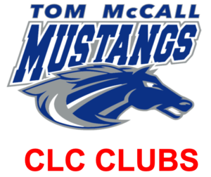 Tom McCall Mustangs logo with CLC Clubs in red