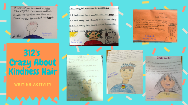 Crazy hair writing collage