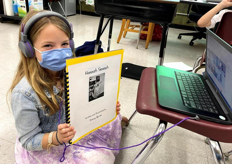 Photo of third grader at Washington School during virtual