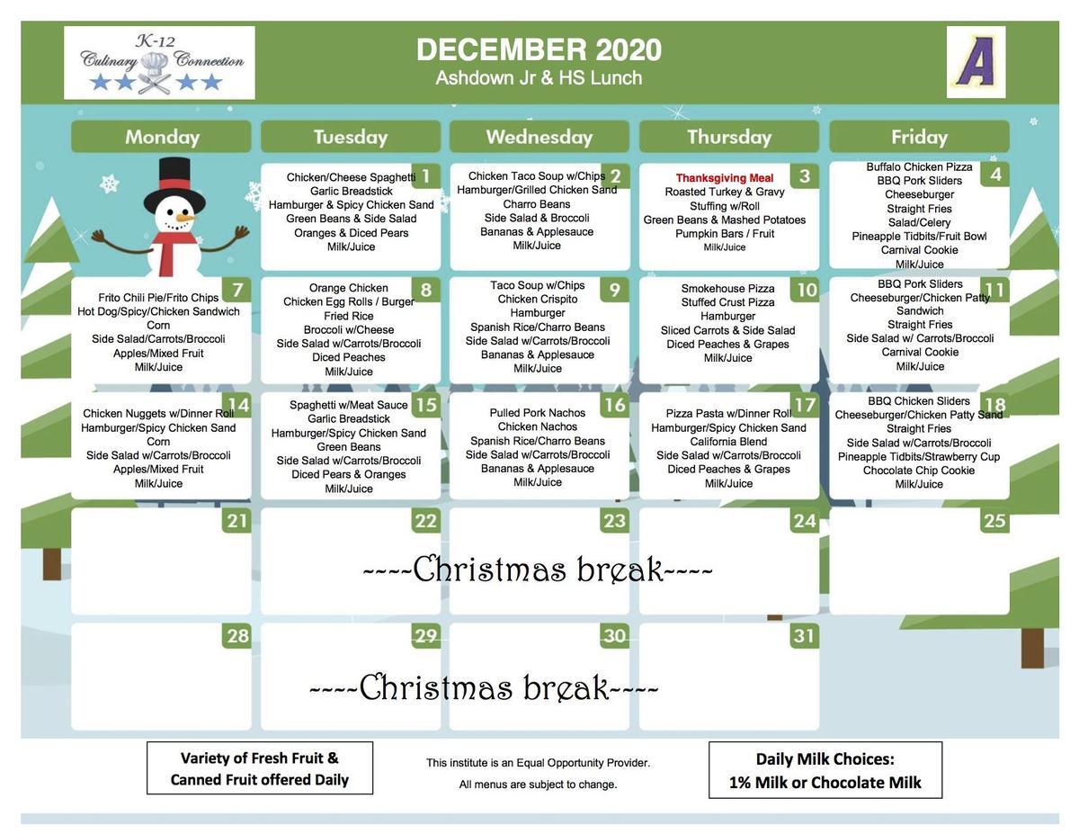 6-12 December Lunch Menus