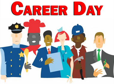 Clipart of people in uniforms with words Career Day