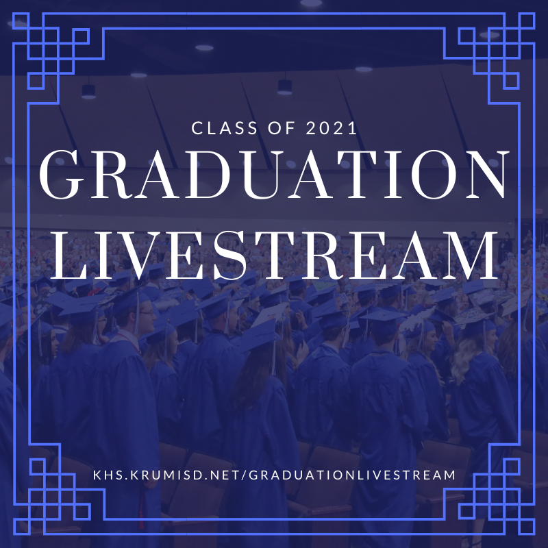 graphic shows students dressed in blue graduation cap and gown with the text graduation livestream over top of image
