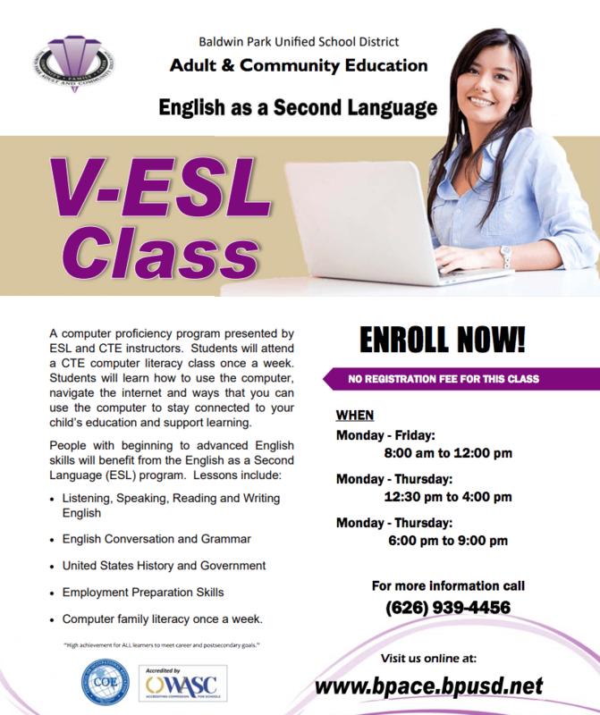 ESL Class Offering for Parents/ Clases de ESL para Padres Featured Photo